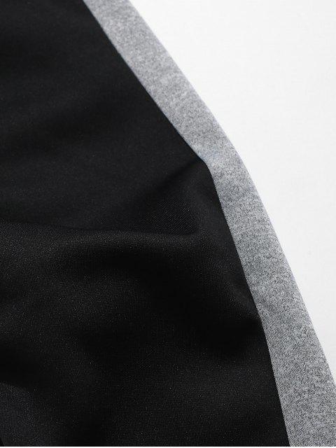 outfits Contrast Side Stripe Elastic Fleece Pants - BLACK XS Mobile