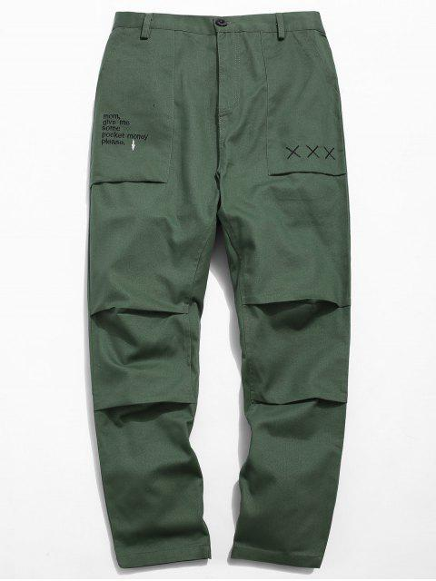 womens Zipper Fly Embroidery Letter Pants - ARMY GREEN XS Mobile