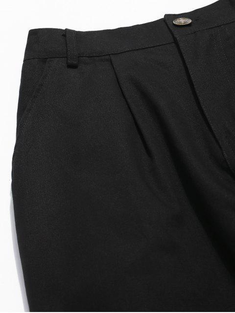 hot Zipper Fly Contrast Corduroy Patchwork Pants - BLACK M Mobile