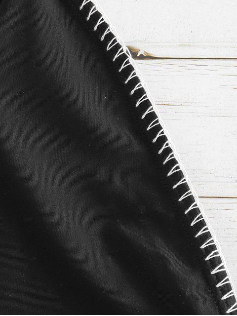 fancy ZAFUL Halter Backless Drawstring Swimsuit - BLACK 2XL Mobile