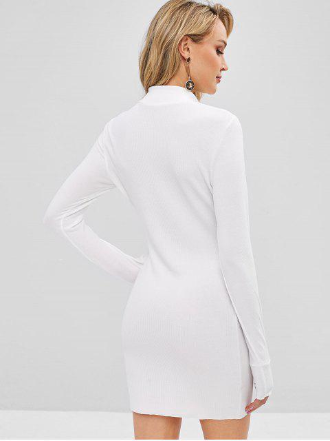 Robe Ajustée en Tricot à Col Montant - Blanc XL Mobile
