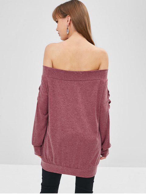 fashion Off Shoulder Criss Cross Plain Tee - PALE VIOLET RED S Mobile