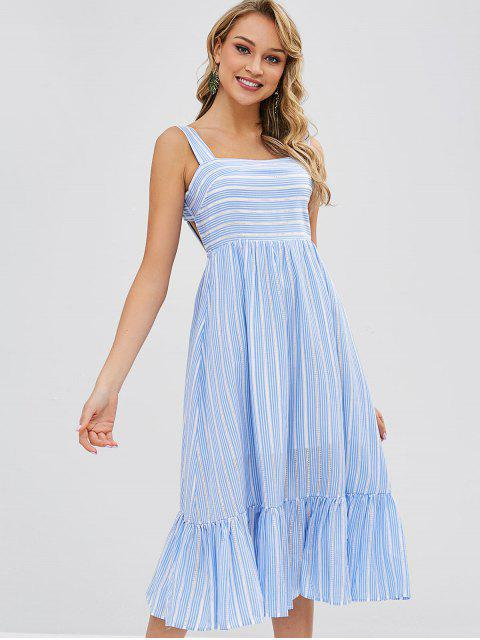 ladies Striped Tie Back Square Neck Midi Dress - MULTI M Mobile