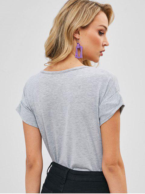 T-shirt graphique avec lettres à revers - Gris Clair Taille Unique Mobile