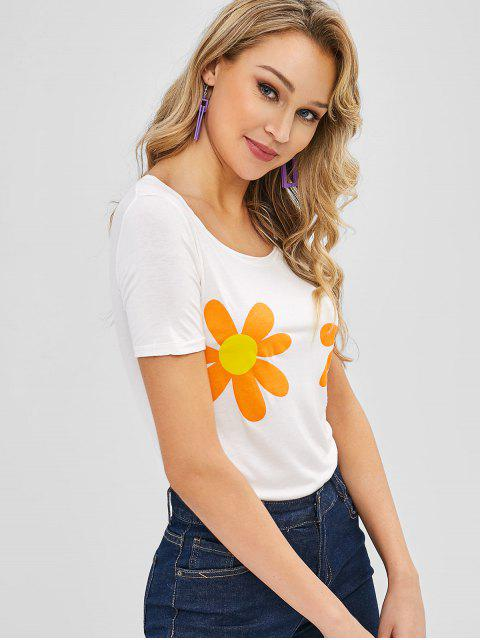 hot Short Sleeve Floral Graphic Tee - CRYSTAL CREAM ONE SIZE Mobile