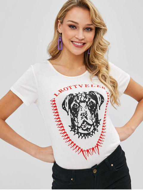 buy Cute Dog Graphic Tee - WARM WHITE ONE SIZE Mobile