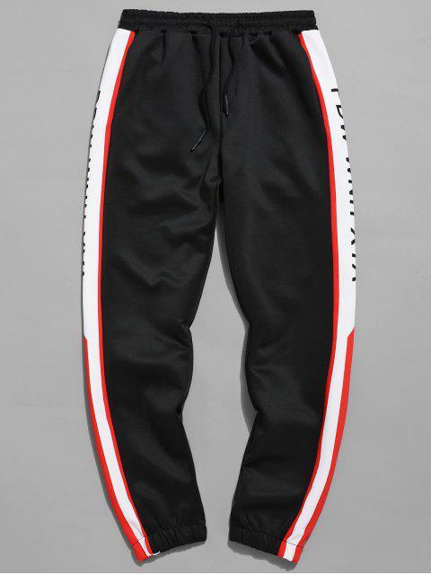 shop Side Letter Print Jogger Pants - BLACK XL Mobile