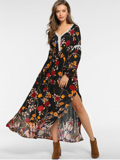 lady ZAFUL Floral Slit Tassel Long Sleeve Dress - BLACK L Mobile