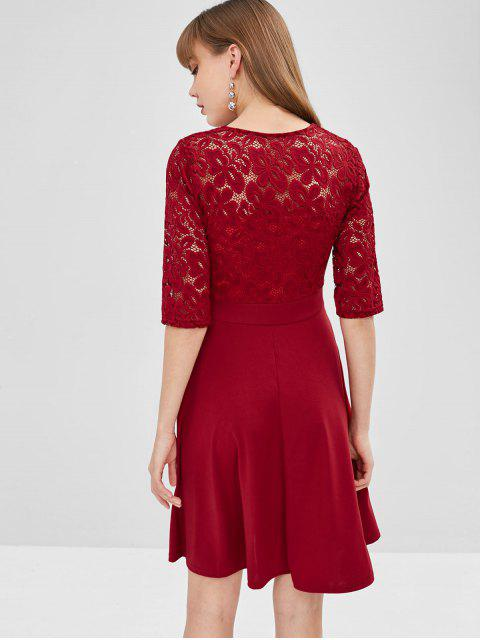 ladies Lace Insert Flare Dress - RED WINE L Mobile