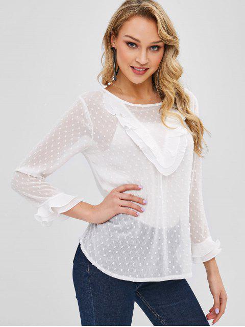 Ver a través de la blusa plisada volante - Blanco XL Mobile