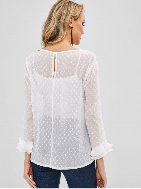 Blouse Plissée Transparente à Volants - Blanc XL Mobile