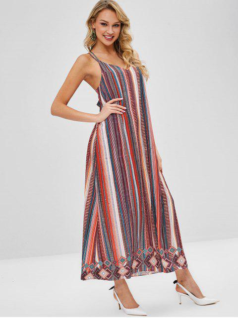 trendy Strappy Printed Flowy Maxi Slip Dress - MULTI ONE SIZE Mobile