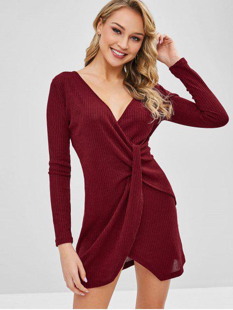 Mini Robe Superposée Tordue - Rouge Vineux L Mobile
