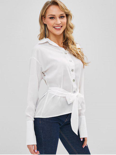 ladies Belted Button Down Shirt - MILK WHITE XL Mobile