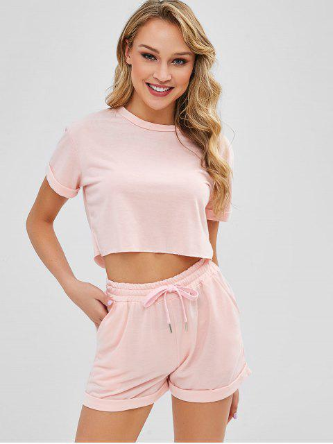chic Cropped Plain Tee And Shorts Set - ORANGE PINK M Mobile