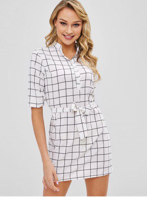 sale Plaid Half Button Belted Mini Dress - WHITE M Mobile
