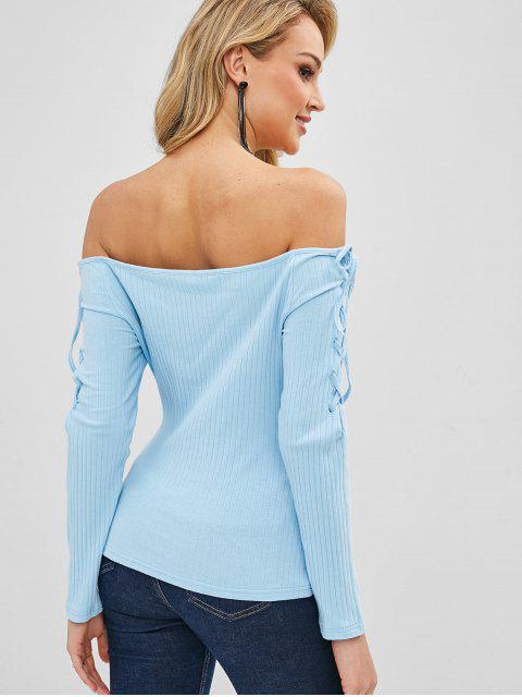 lady Off Shoulder Lace Up Top - LIGHT SKY BLUE L Mobile