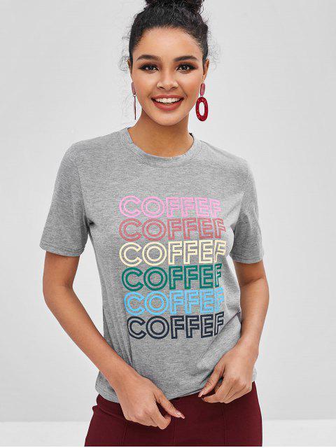 T-shirtLettreGraphiqueContrasté - Gris L Mobile