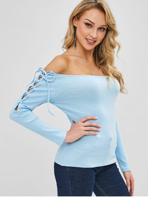 shops Off Shoulder Lace Up Top - LIGHT SKY BLUE XL Mobile
