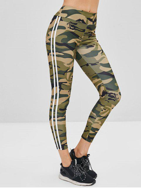 affordable Striped Side Camouflage Leggings - ACU CAMOUFLAGE L Mobile