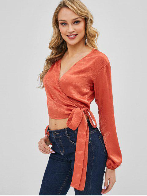 best Knotted Shiny Wrap Top - ORANGE SALMON M Mobile