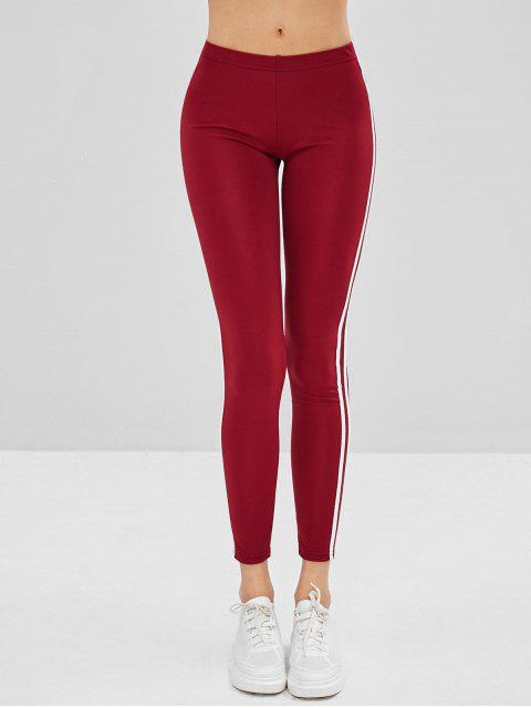 chic Striped Side Skinny Leggings - RED WINE XL Mobile