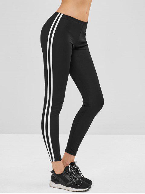 trendy Striped Side Skinny Leggings - BLACK XL Mobile