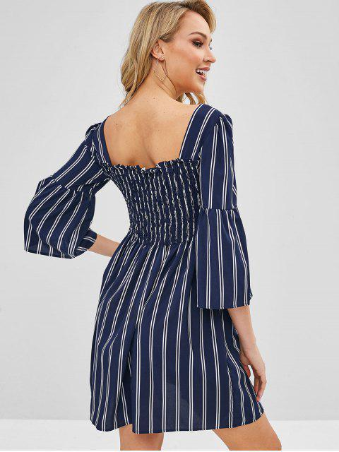 sale Button Up Smocked Striped Mini Dress - MIDNIGHT BLUE XL Mobile