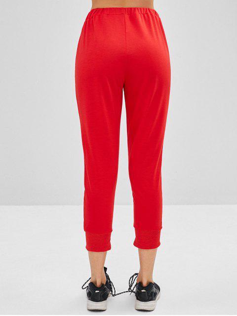 Pantalones de chándal con cordón en el tobillo - Rojo M Mobile