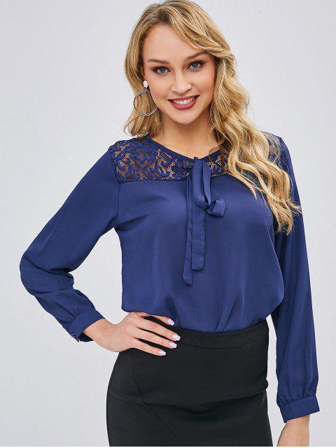 fancy Tie Lace Panel Chiffon Blouse - LAPIS BLUE XL Mobile