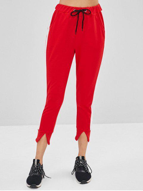 Pantalon de Jogging à Cheville Fendu à Cordon - Rouge S Mobile