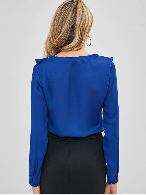 Blouse Simple à Lacets à Volants - Bleu Cobalt L Mobile