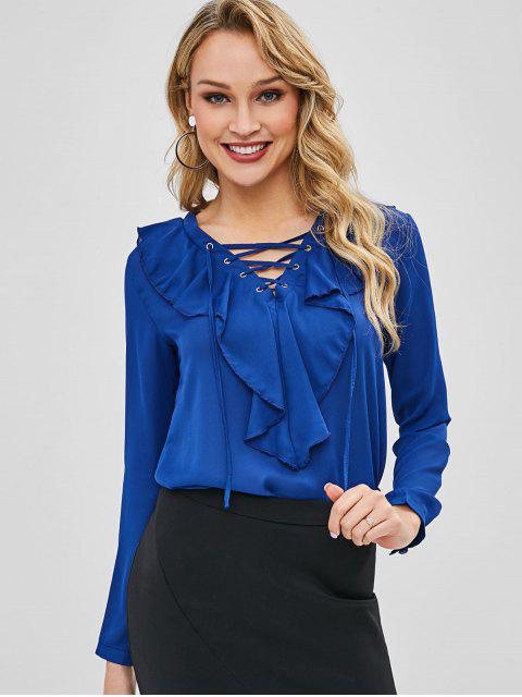 shop Lace Up Ruffles Plain Blouse - COBALT BLUE L Mobile