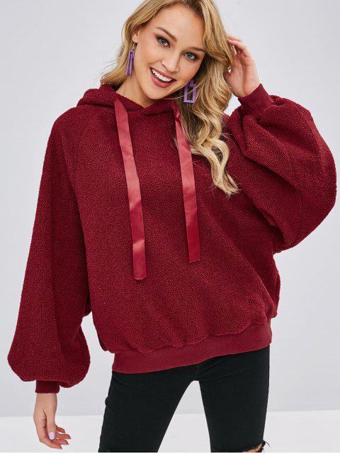 ladies Raglan Sleeve Fluffy Teddy Hoodie - RED WINE ONE SIZE Mobile