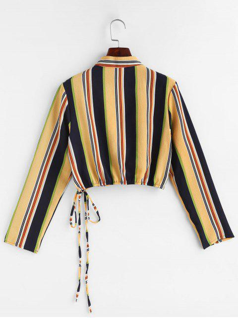 trendy Colorful Striped Tie Surplice Top - YELLOW L Mobile