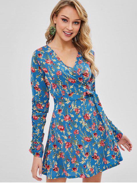 women's Long Sleeve Floral Wrap Dress - CORNFLOWER BLUE XL Mobile