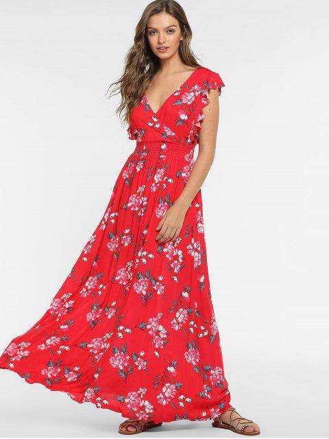 affordable ZAFUL Boho Floral Backless Ruffled Dress - RED L Mobile