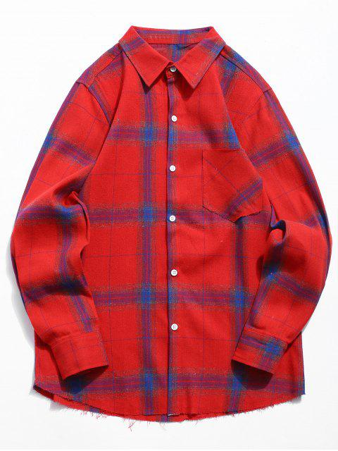 ladies Chest Pocket Plaid Shirt - RED S Mobile