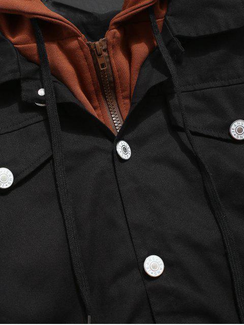 Veste en Blocs de Couleurs Fausse Deux Pièces - Noir 2XL Mobile