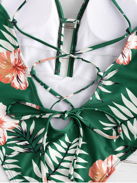 chic ZAFUL Floral Leaf Print Criss Cross Swimsuit - MEDIUM SEA GREEN M Mobile