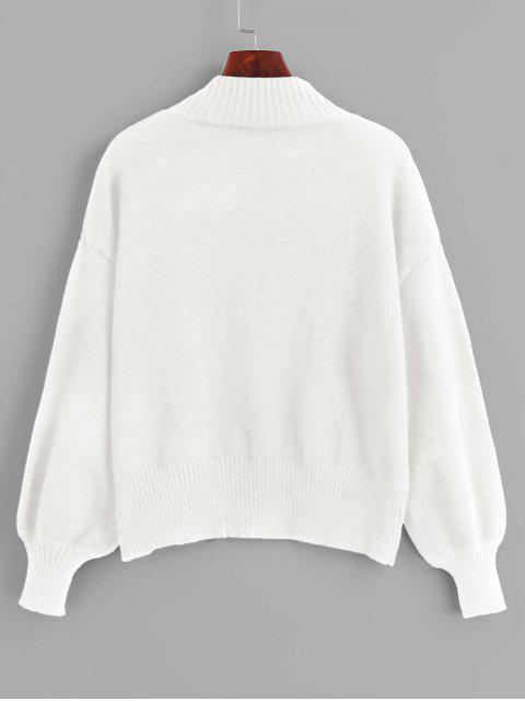 shop Mock Neck Sunflower Embroidery Sweater - WHITE ONE SIZE Mobile