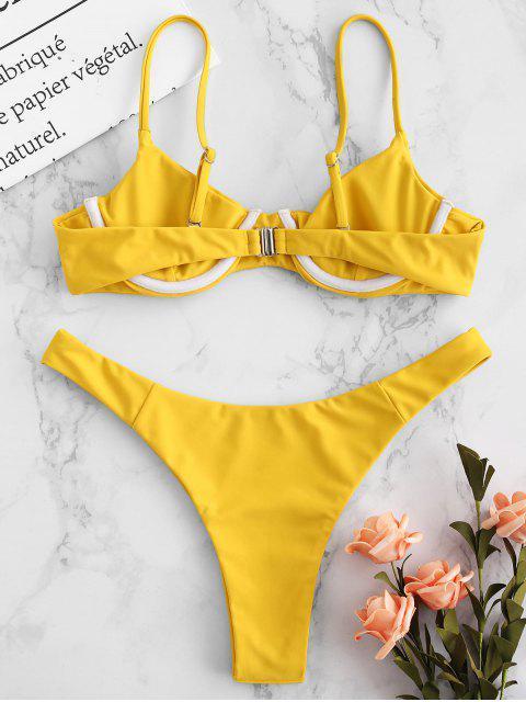 buy ZAFUL Underwire Cami Bikini Set - GOLDEN BROWN S Mobile