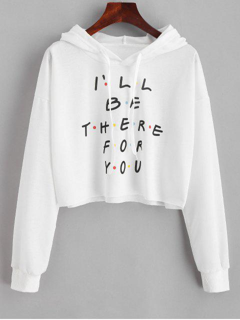 women Colored Polka Dot Letter Graphic Cropped Hoodie - WHITE L Mobile
