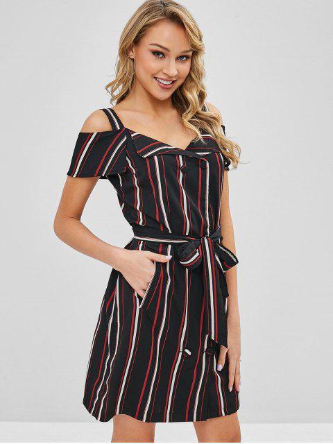women's Double Breasted Stripes Cold Shoulder Dress - MULTI M Mobile