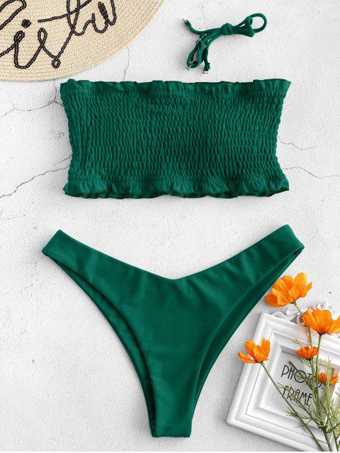 women ZAFUL Frilled Padded Smocked Bikini Set - SEA GREEN L Mobile