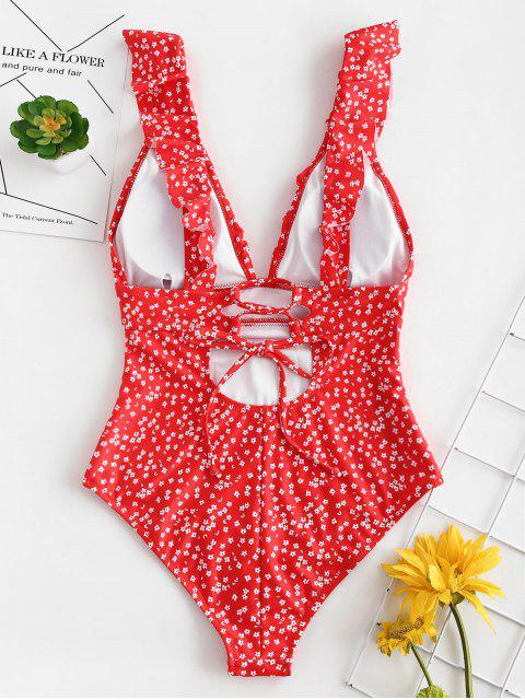 ZAFUL Ruffles Tiny Floral One Piece Swimsuit - الحمم الحمراء L Mobile