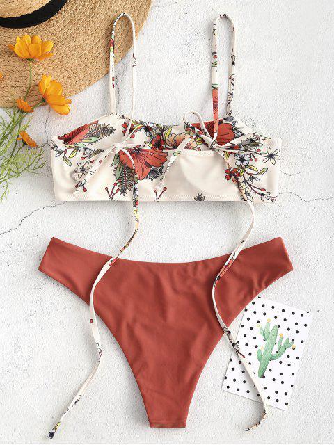 ladies ZAFUL Floral Tie Reversible Bikini Set - MULTI-A S Mobile