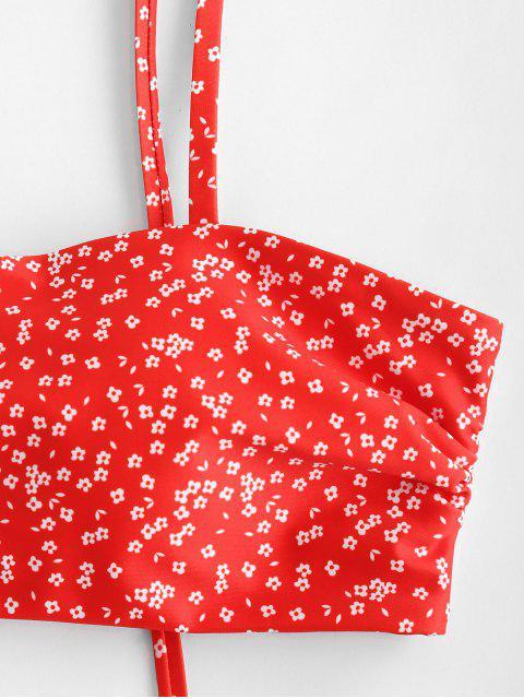 ZAFUL Conjunto de Biquíni de Cavado com Estampa Floral - Lava Vermelha S Mobile