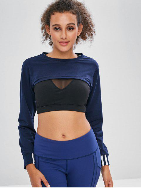 chic ZAFUL Open Bust Cropped Sweatshirt - CADETBLUE M Mobile