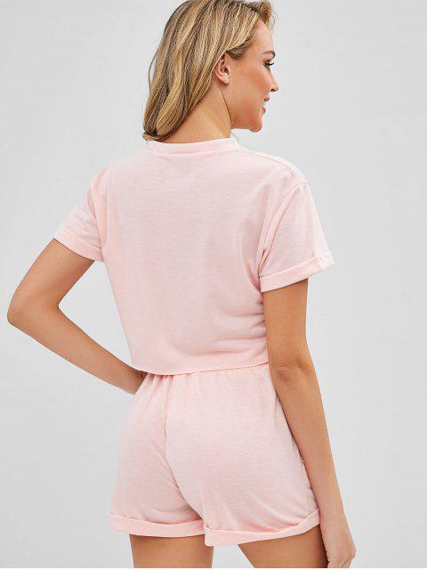 Ensemble de T-shirt Simple Court et de Short - Orange Rose S Mobile